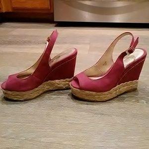 "Montego Bay Club Magenta 4.5"" Wedge Sandals Size 5"